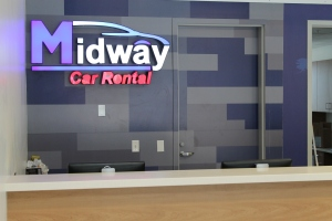 Midway Car Rental Front Counter at Bob Hope Airport Car Rental Facility