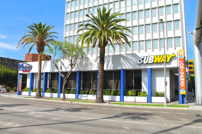 Side view of Midway Car Rental LAX location